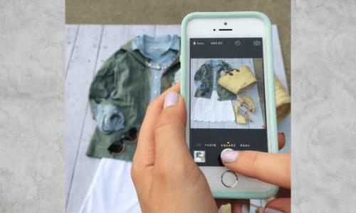 contoh foto produk baju dengan smartphone